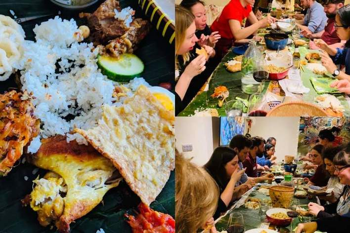 Indonesian banana leaf rice supper club - no forks given