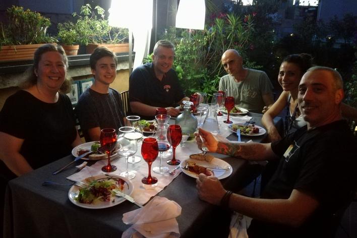 Dining in a roman terrace meat menu