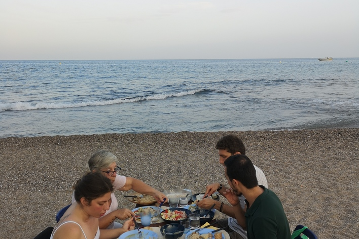 Seafood dinner on a calm beach