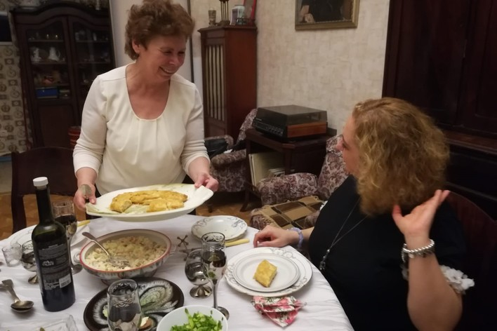 Delicious food in historic apartment