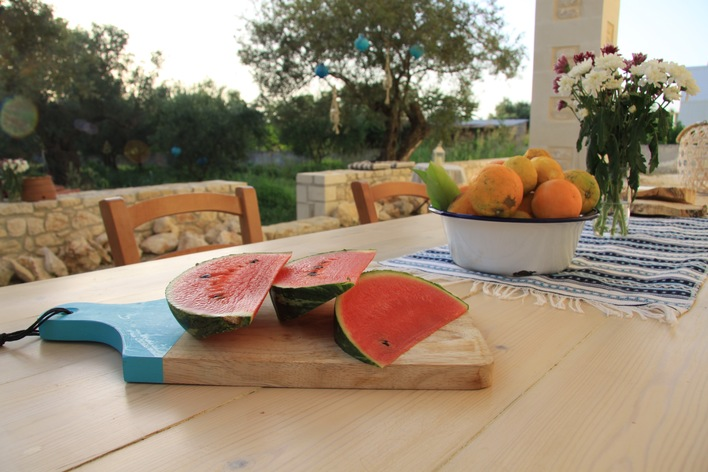 Cretan breakfast under the olive trees