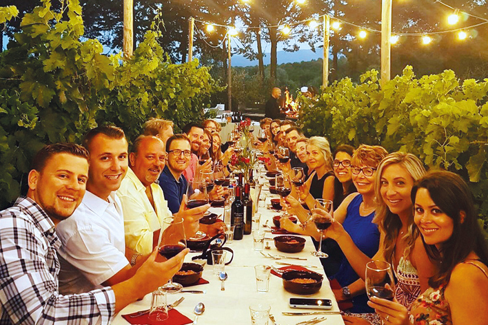 Dinner in chianti vineyards
