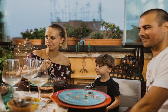 Dining in a roman terrace vegeterian meal
